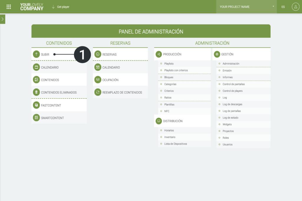 Sube y gestiona tus primeros contenidos - Panel de control - Subir contenido